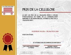 Le Prix de La Cellulose 2020 a été décerné à ...